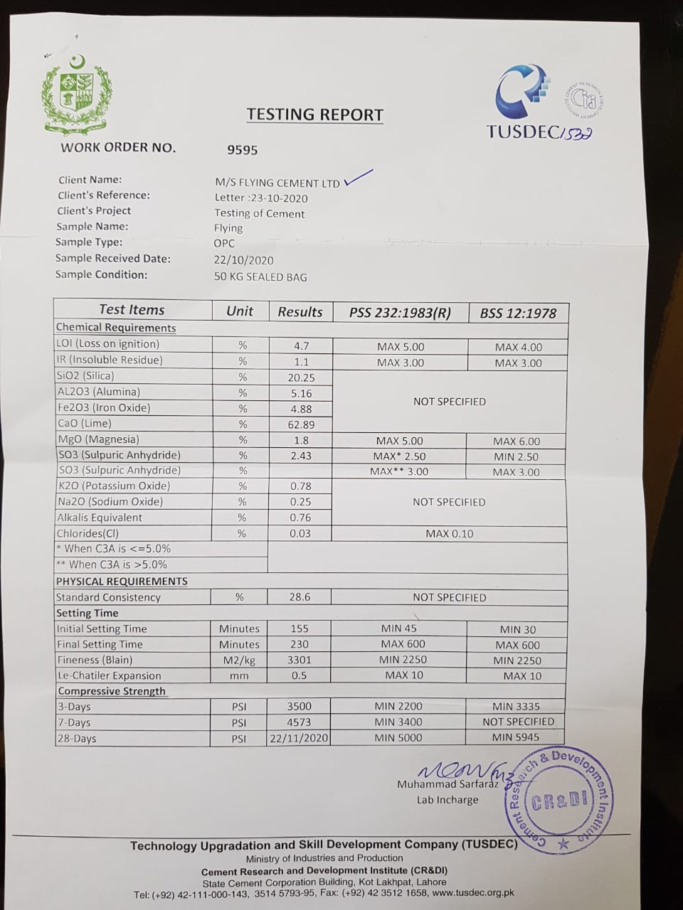 Flying Cement Testing Report